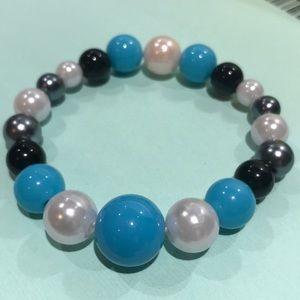 3/$25 bubble gum beaded elastic bracelet